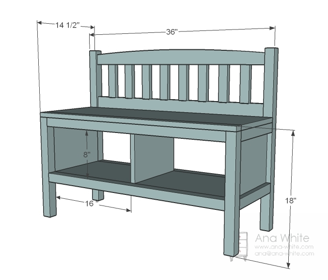 Ana White Build A Cottage Bench With Storage Cubbies Free And Entryway