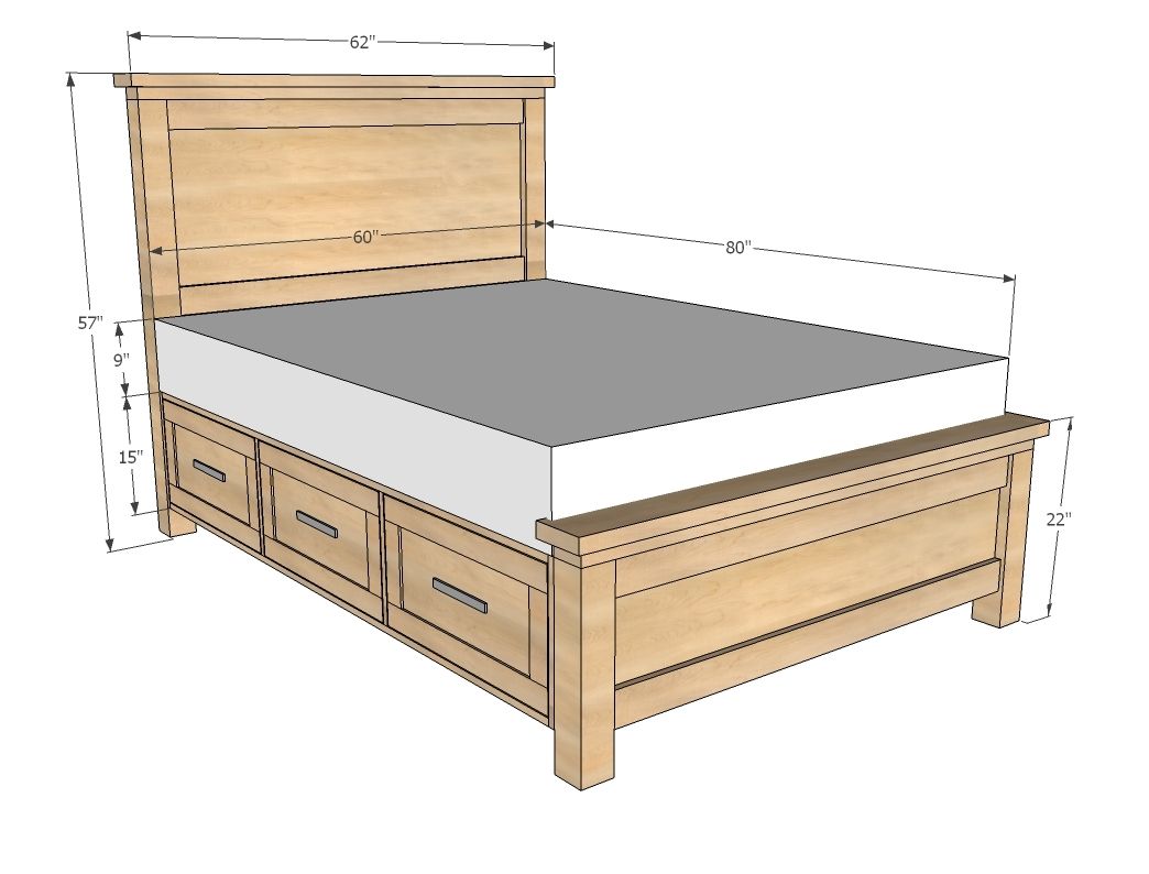 dimensions diagram of farmhouse bed with storage drawers in queen size