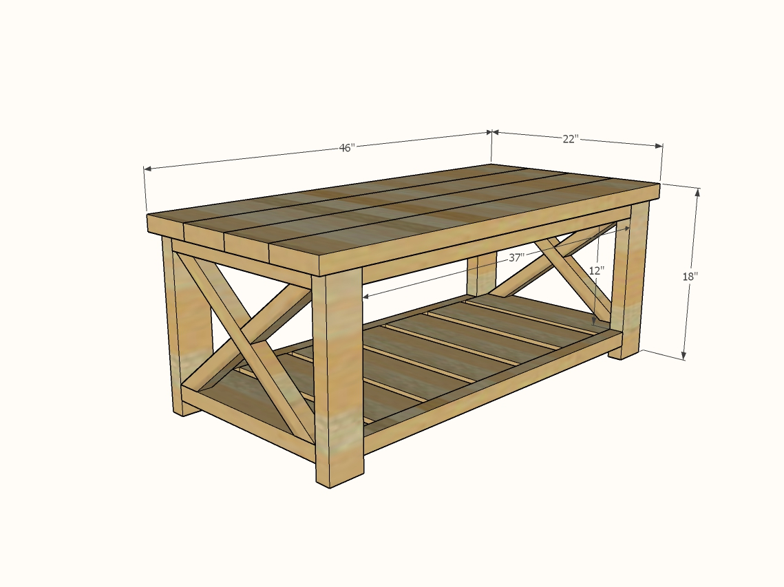 farmhouse coffee table dimensions