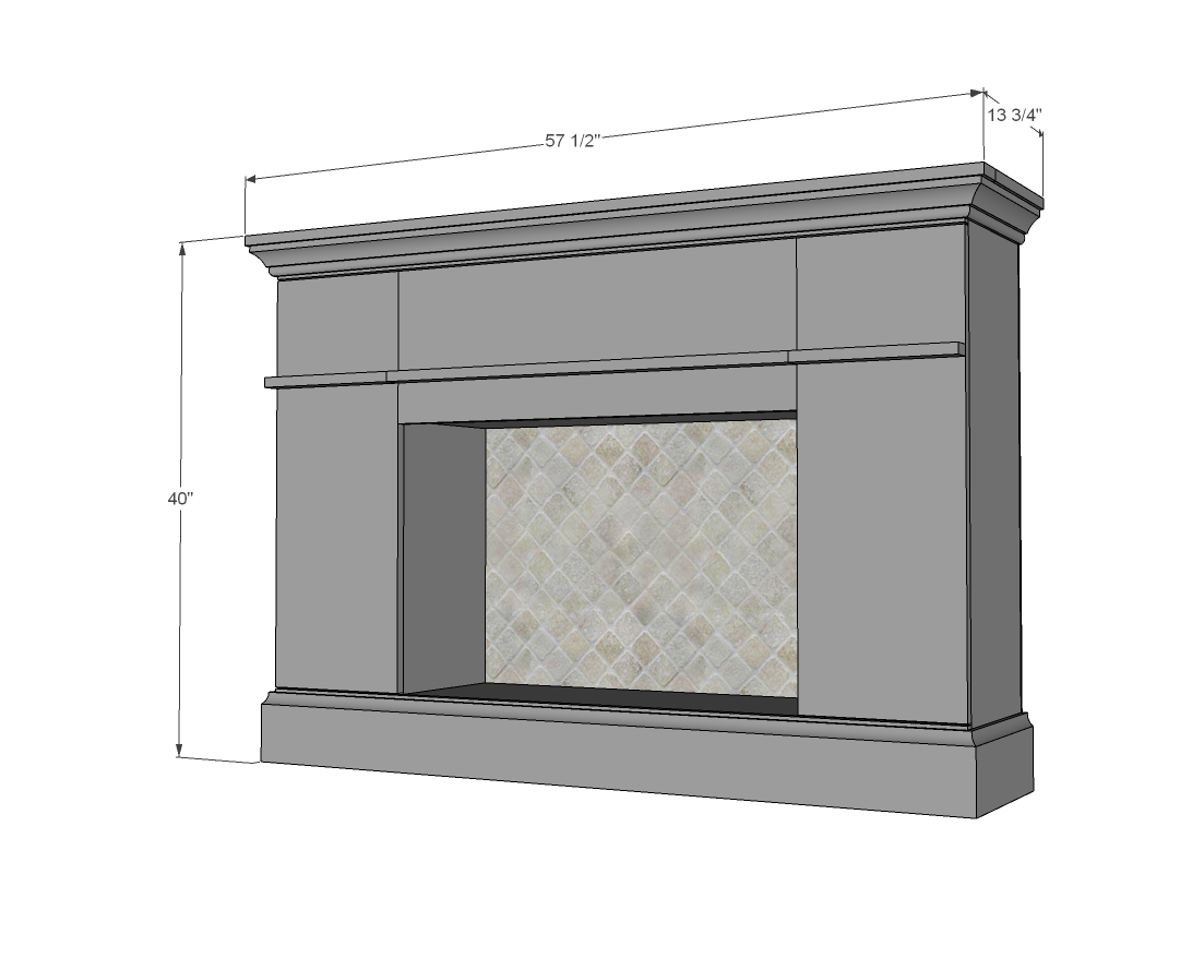 Faux Fireplace dimensions diagram