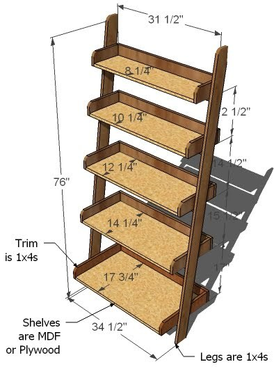 ladder bookshelf plans free