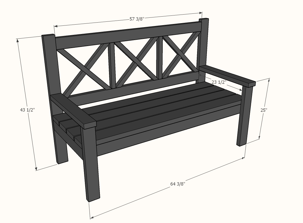 dimensions diagram for large x bench