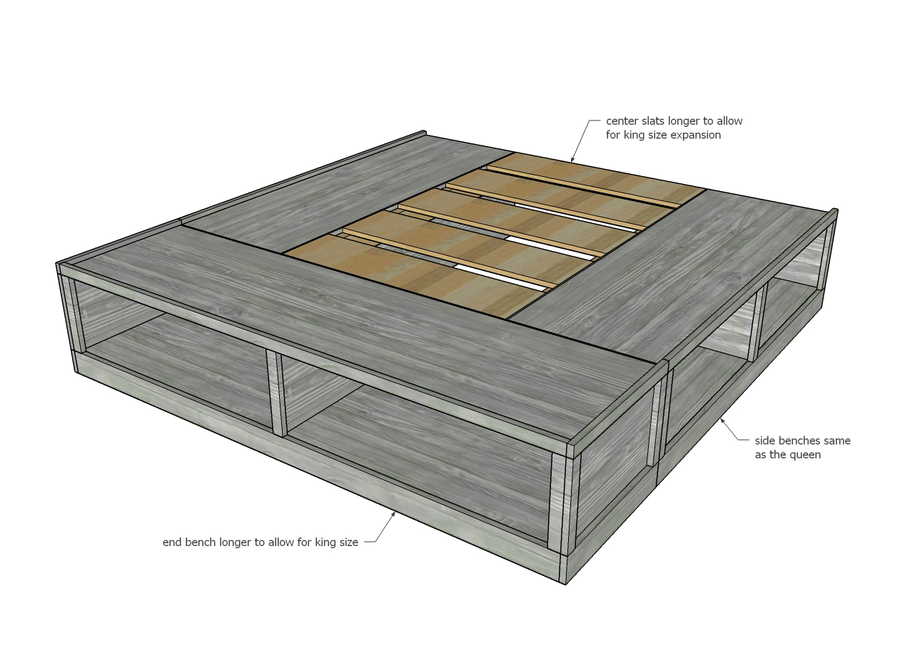 wood storage bed frame dimensions