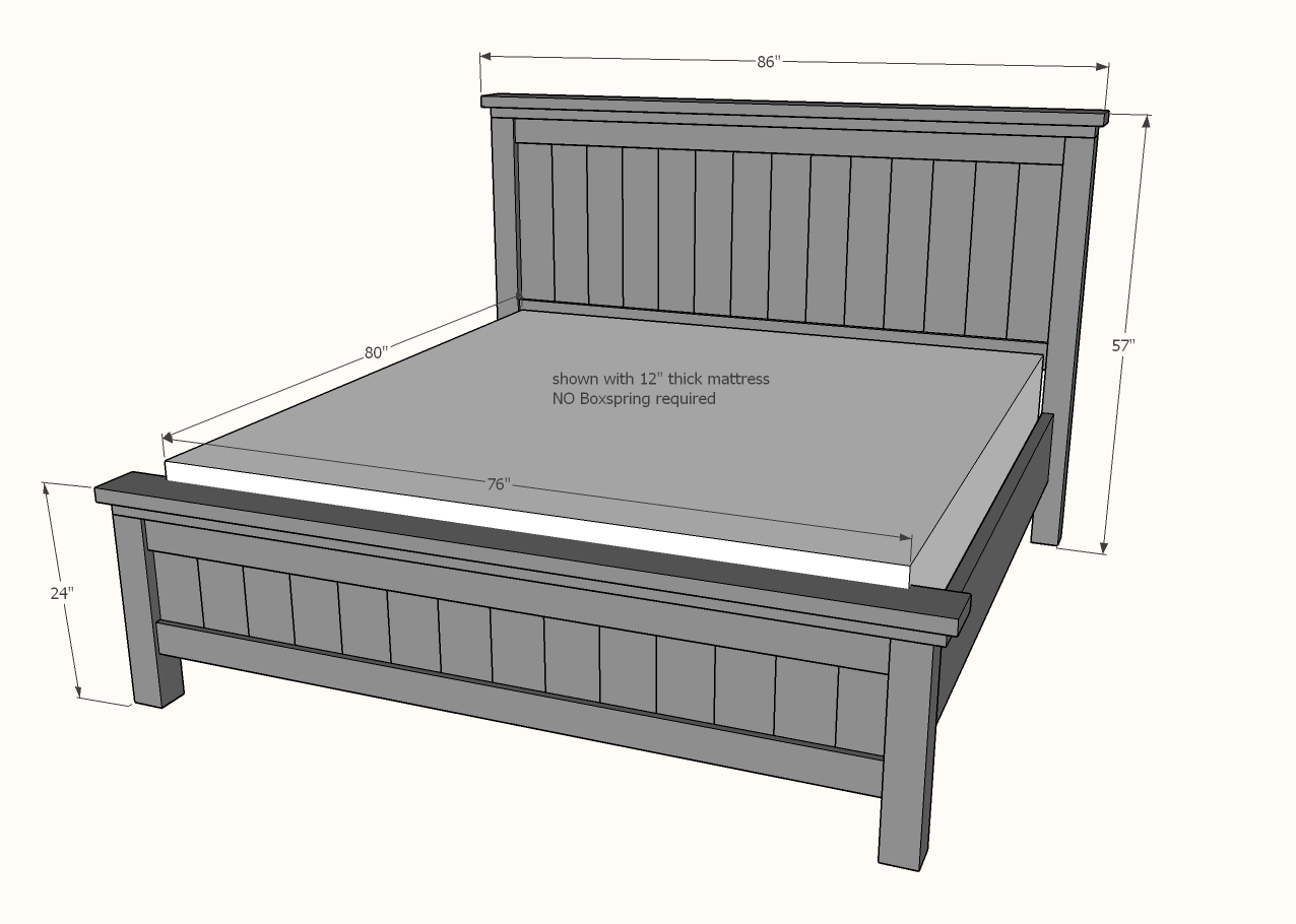 Dimensions diagram for king farmhouse bed