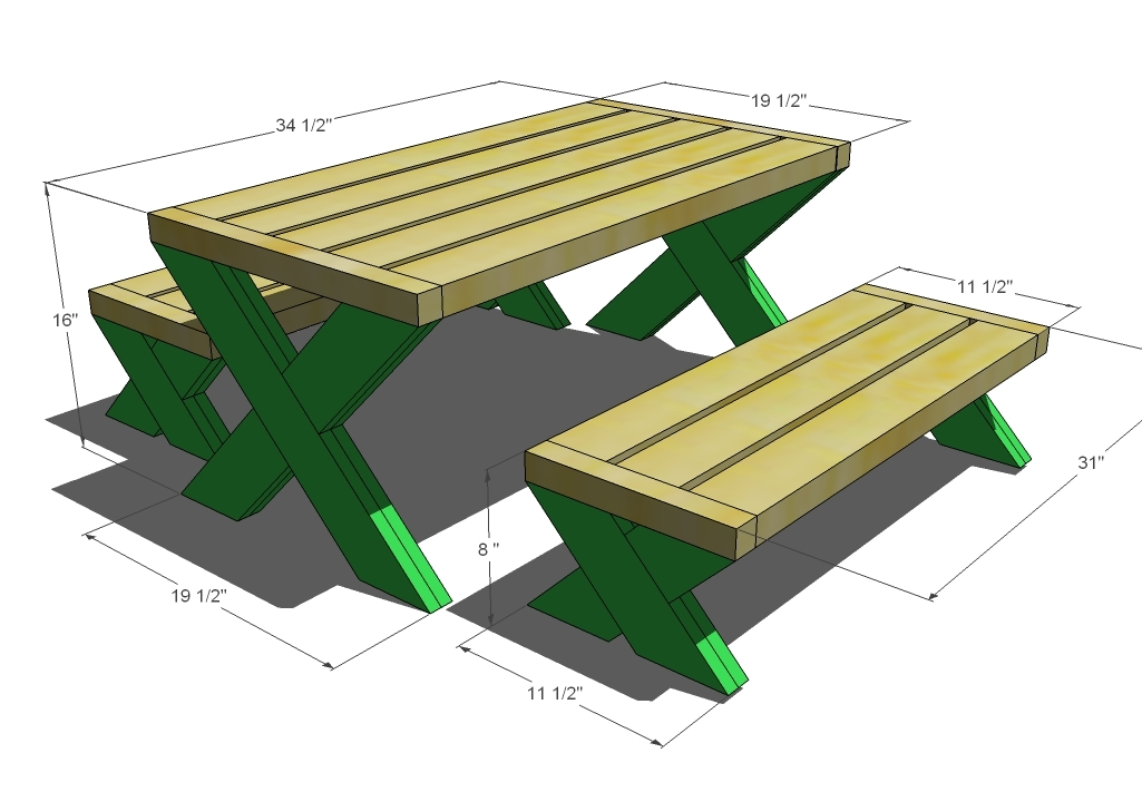 Build A Modern Kid's Picnic Table, or X Benches