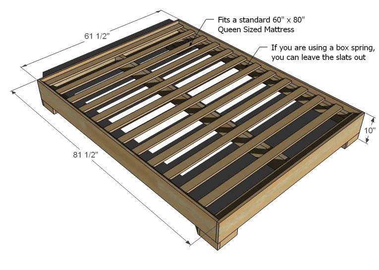diy bed frame dimensions diagram