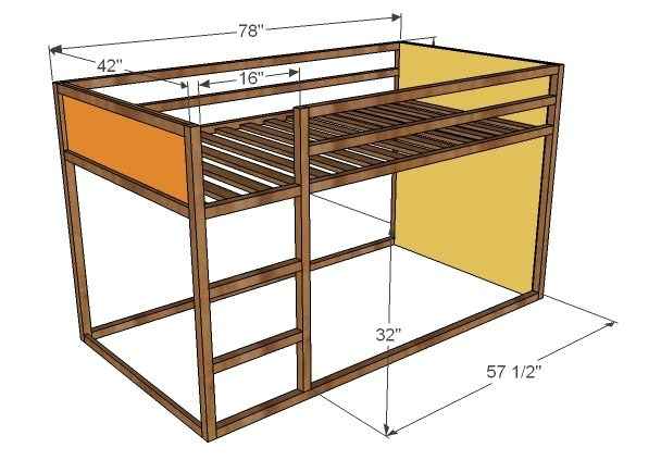 Overall Dimensions are shown above. Composition is pine boards and 3/4 ...