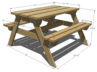 small kids picnic table dimensions diagram