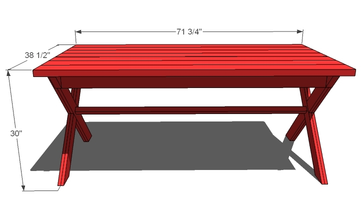 diagram showing X picnic table dimensions