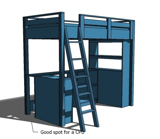 Ana White | Build a Loft Bed Small Bookcase and Desk | Free and ...
