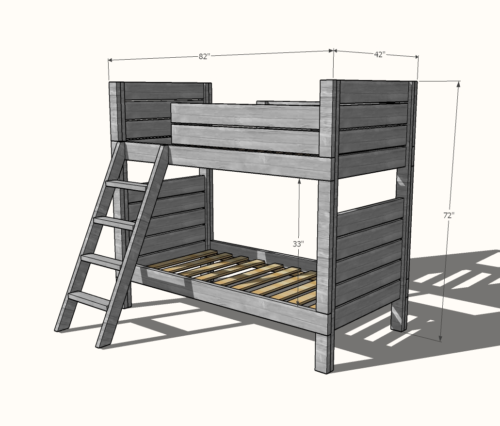 modern bunk bed plans dimensions