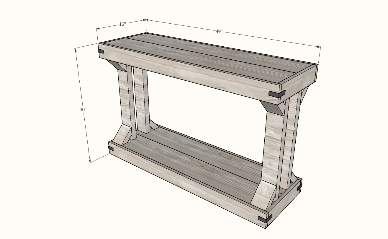 modern farmhouse console table dimensions