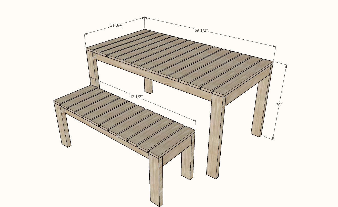 simple modern outdoor dining table plans