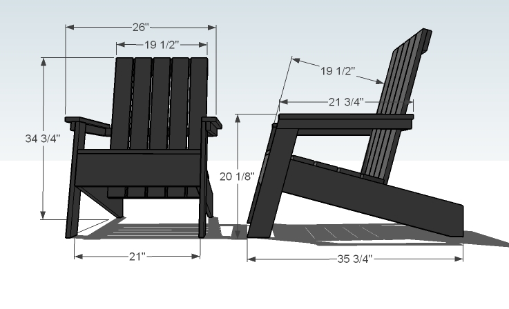 ana white modish adirondack chair diy projects