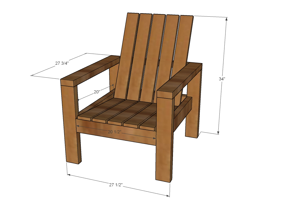 Wood chair outdoor dimensions