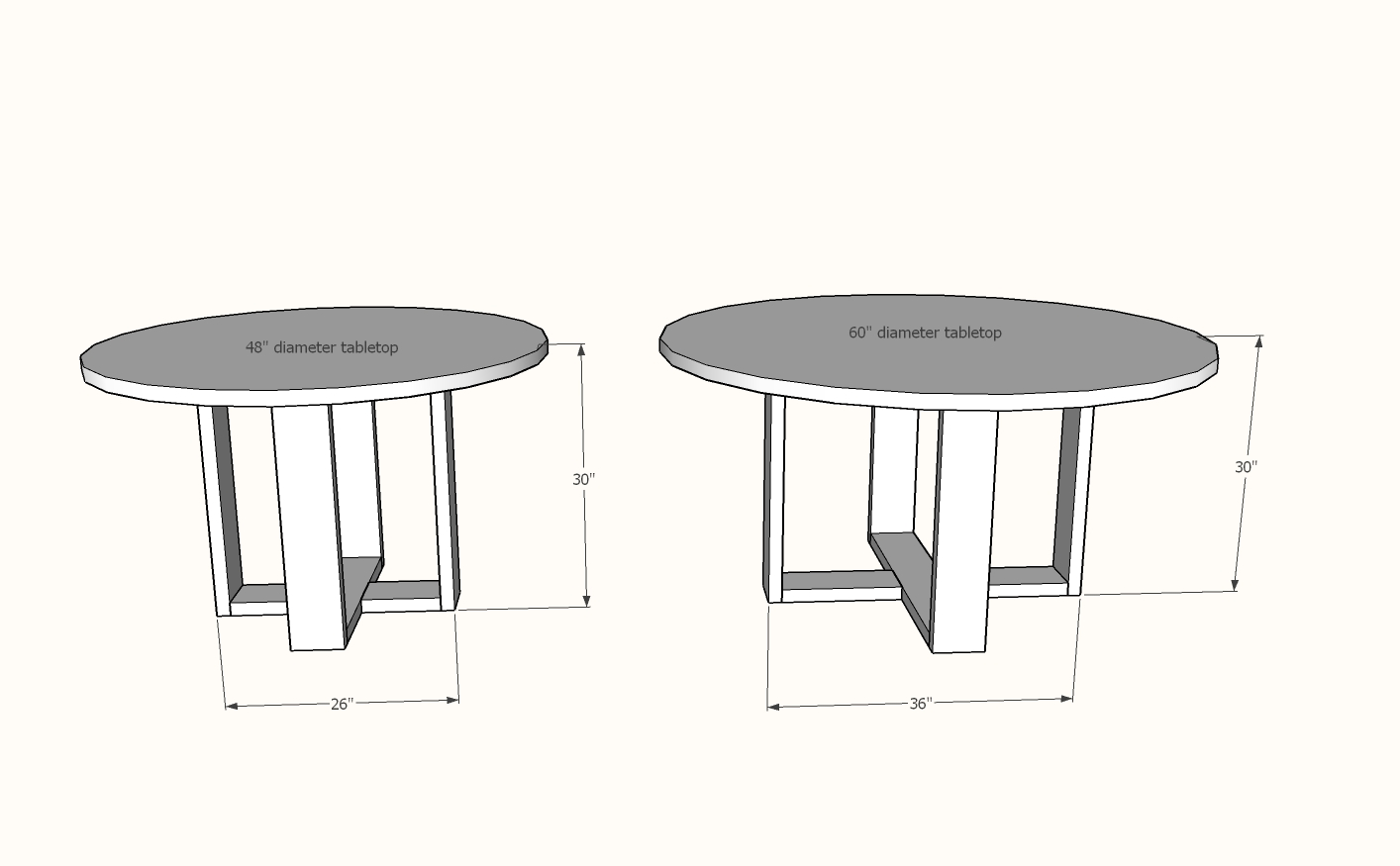 round dining table dimensions