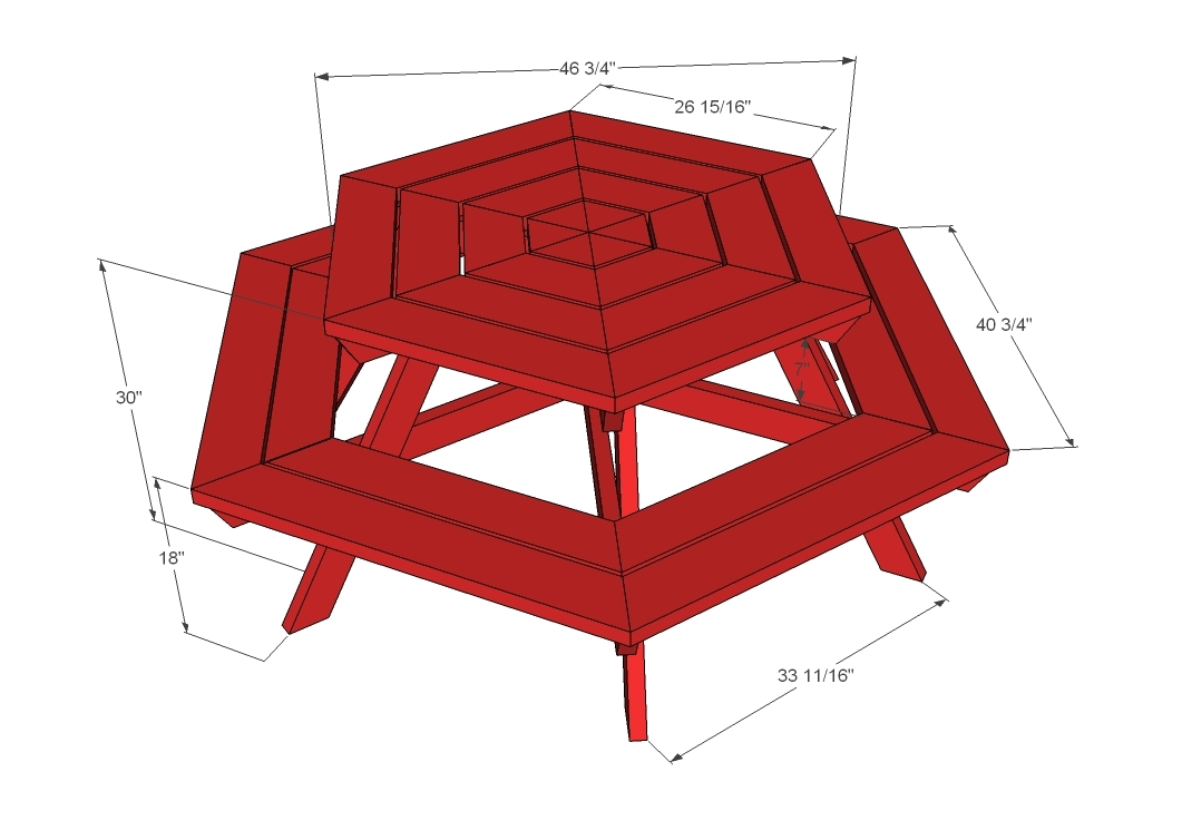Free Picnic Table Plans Hexagon