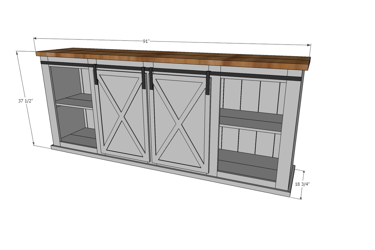 barn door console dimensions