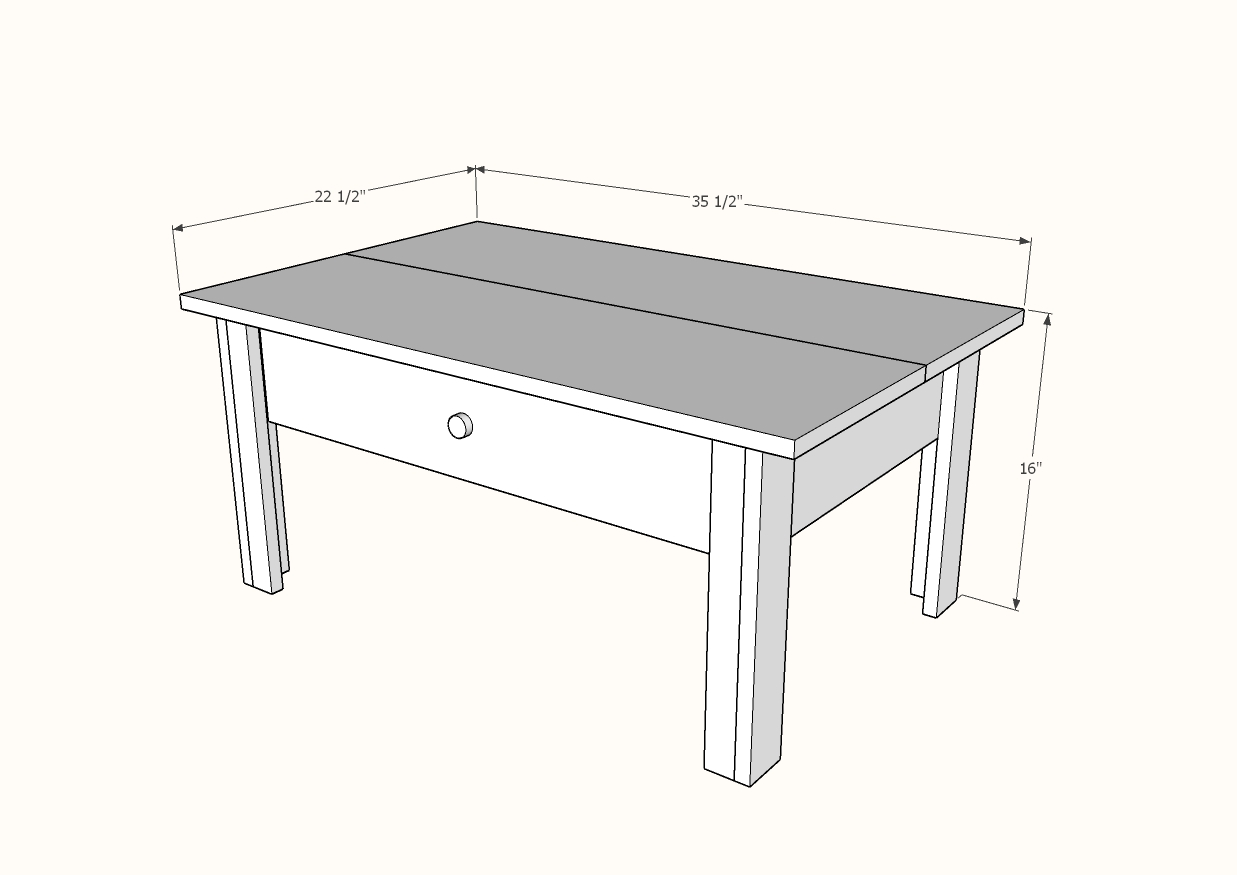 simple coffee table with drawer