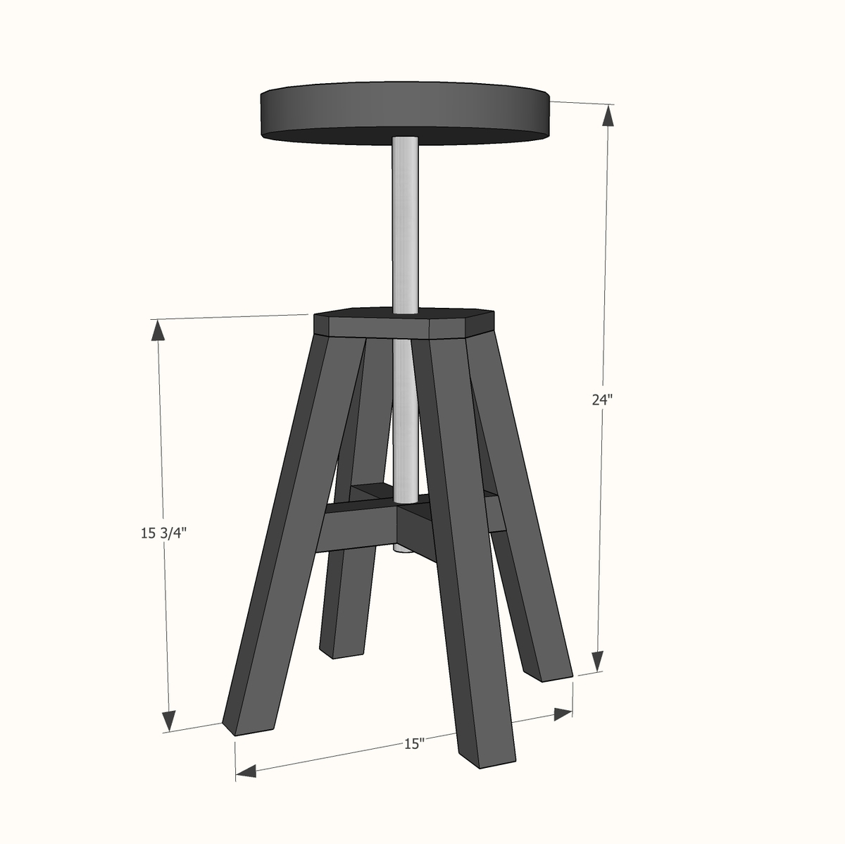 Ana White Adjustable Height Wood And Metal Stool Diy