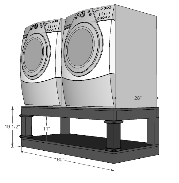 dimensions diagram for the laundry base
