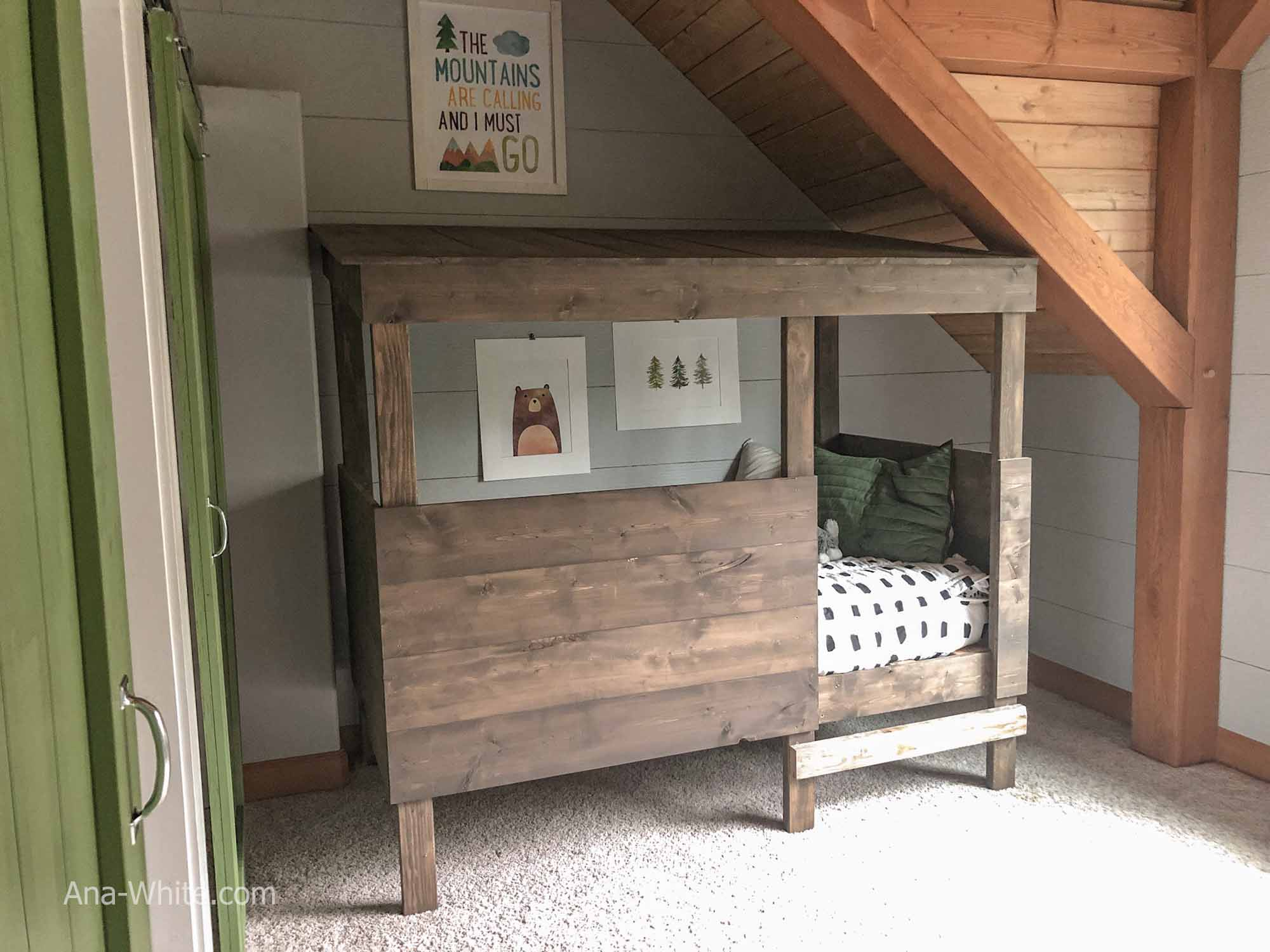 Treehouse bed woodland forest theme boy bedroom adventure nature