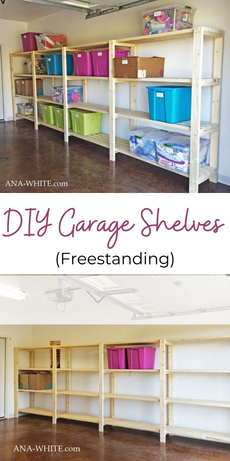 DIY Garage Shelves Freestanding