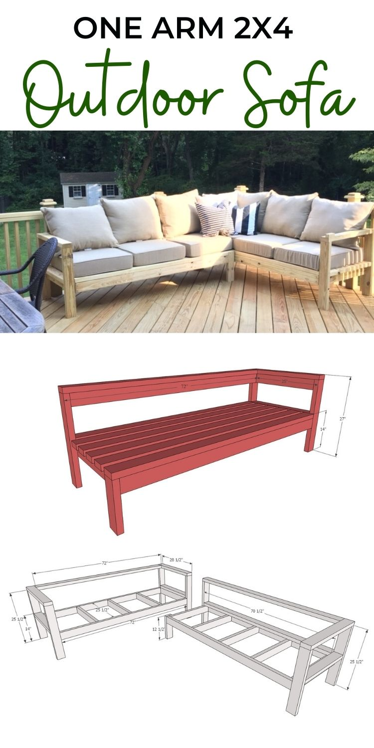 One Arm Sectional Outdoor Sofa