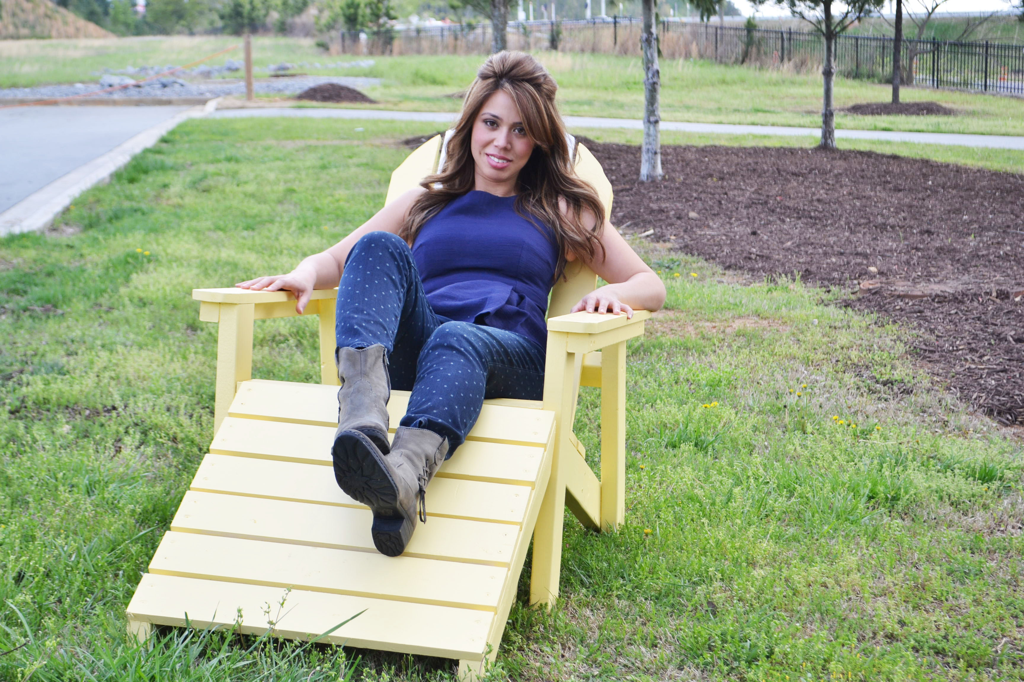 adirondack chair with footstool with ana white sitting in it
