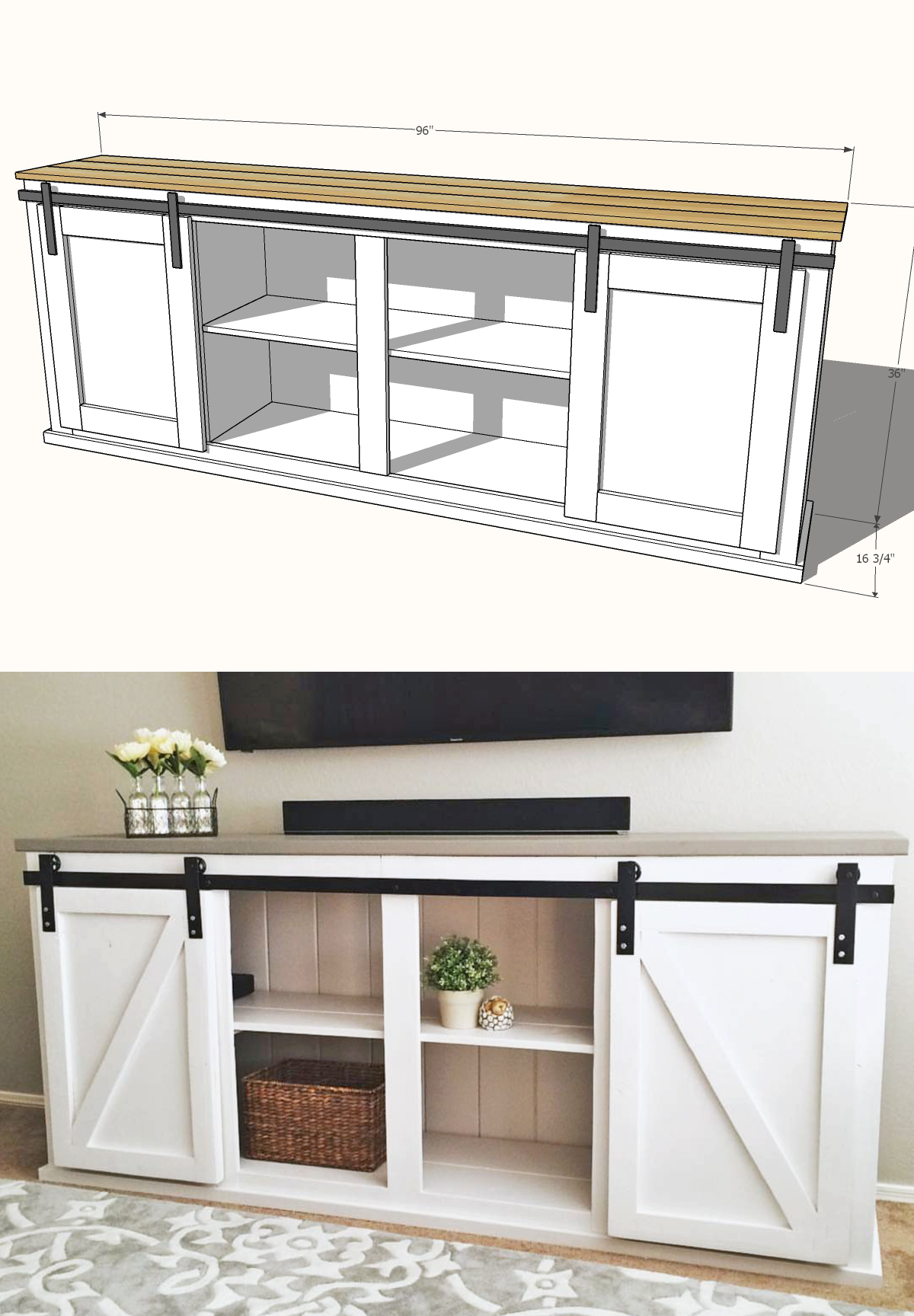 ana white barn door console plans