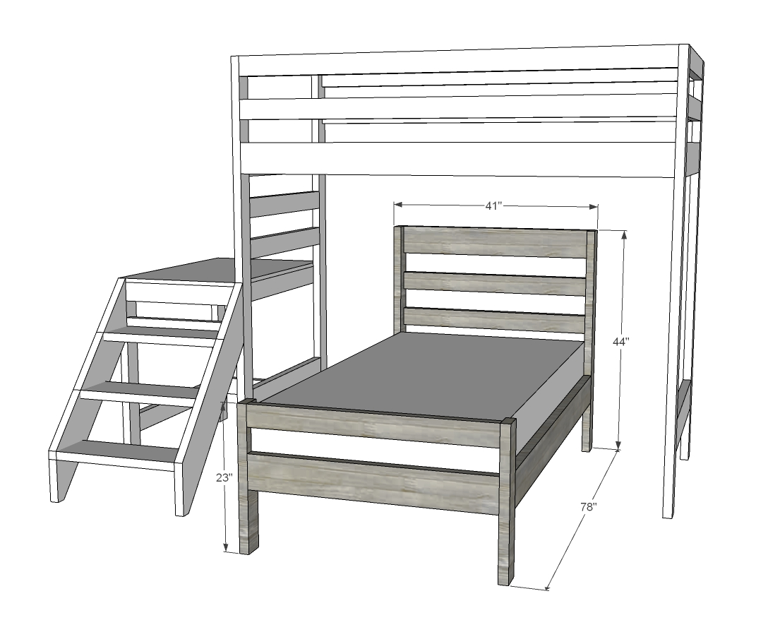 loft bed with stairs and bed underneath