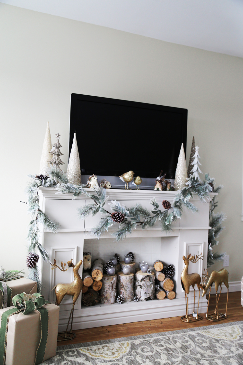 faux fireplace decorated