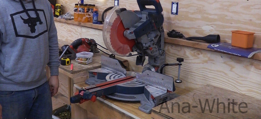 miter saw in workbench