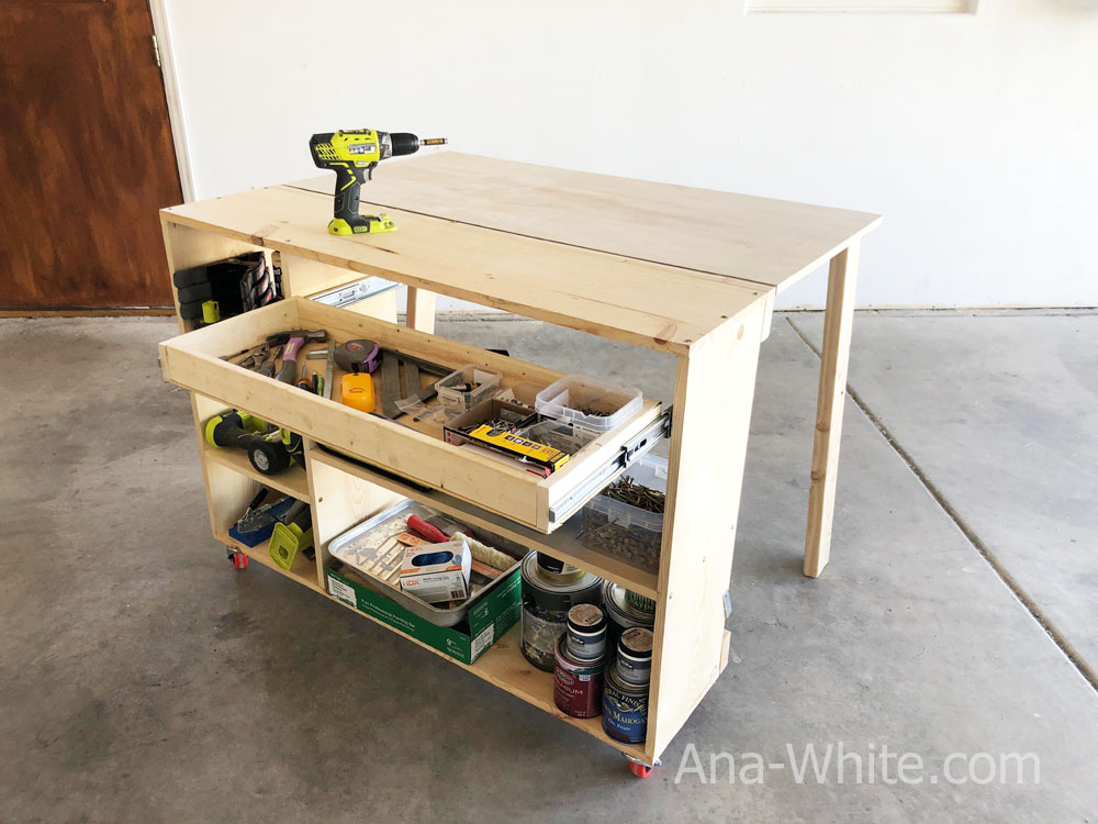 folding workbench with drawers