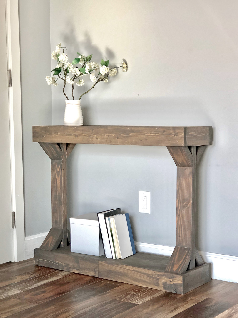 narrow console table stained wood rustic look