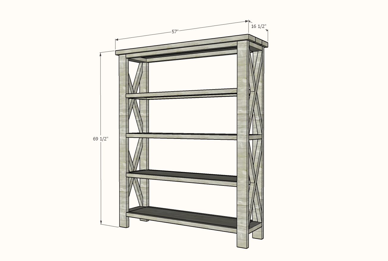 wide rustic bookshelf