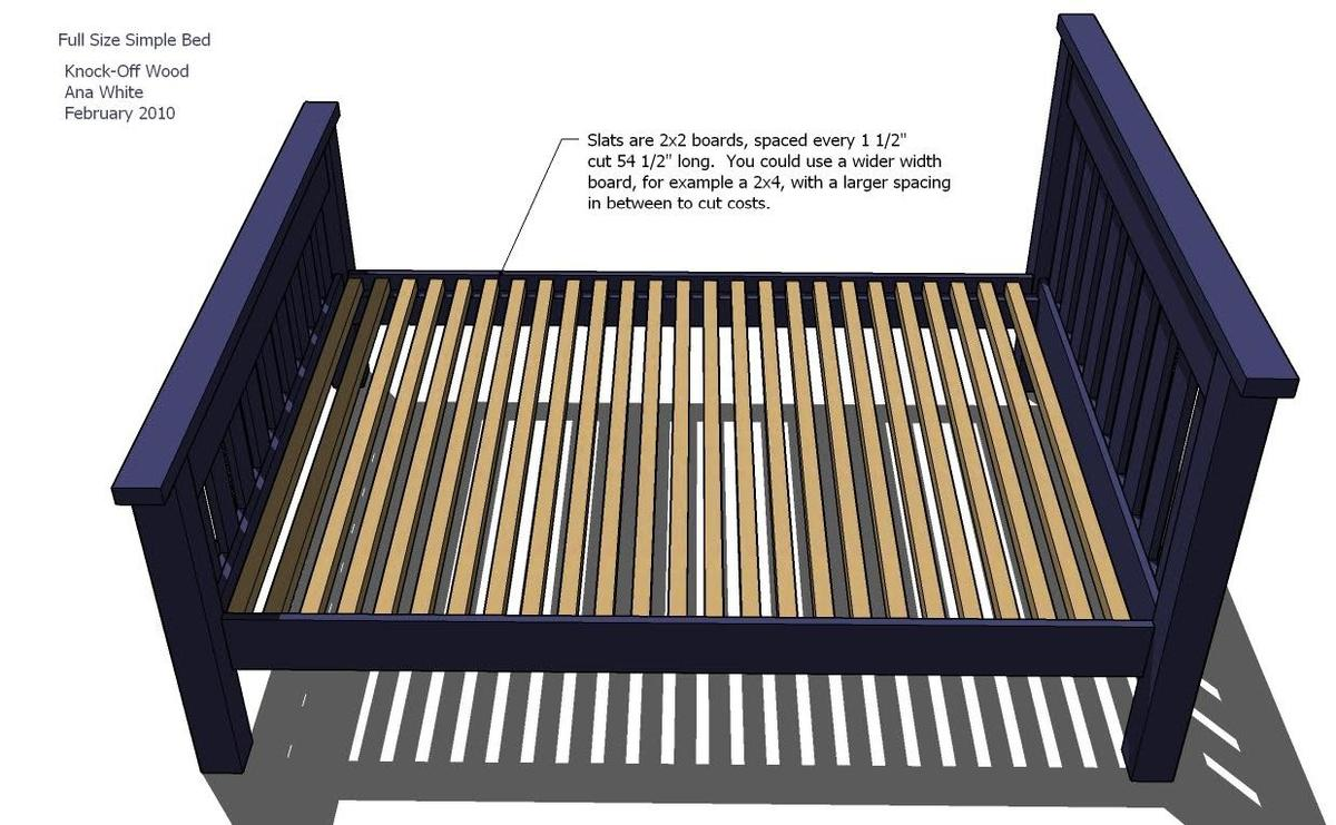 Full Size Bed Frame Plans 1239 x 765
