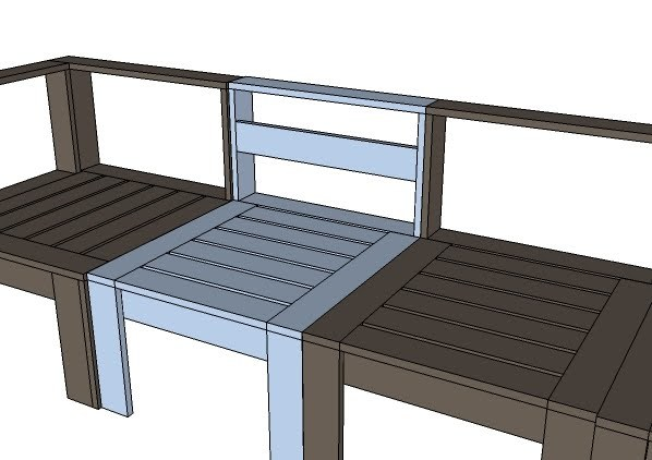 Ana White | Build a Simple Modern Outdoor Sectional Armless Section ...