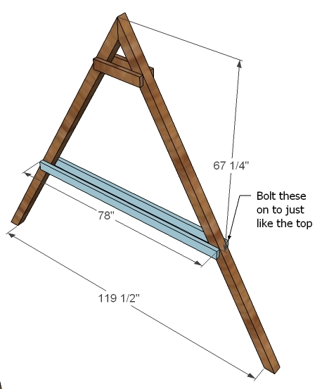 Ana white how to build a swing set for the playhouse for How to build a frame swing structure