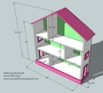 dollhouse bookshelf dimensions