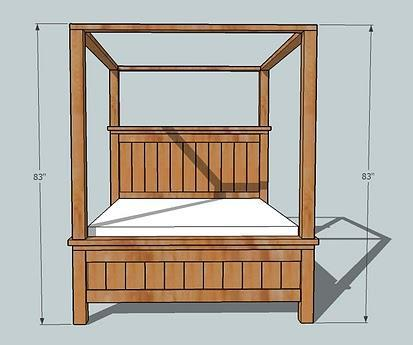 dimensions diagram for farmhouse bed with canopy