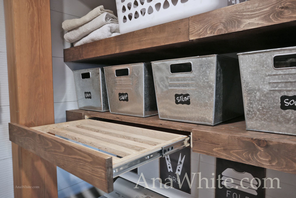Floating Shelves Pull Out Drying Racks And Hanging Rods