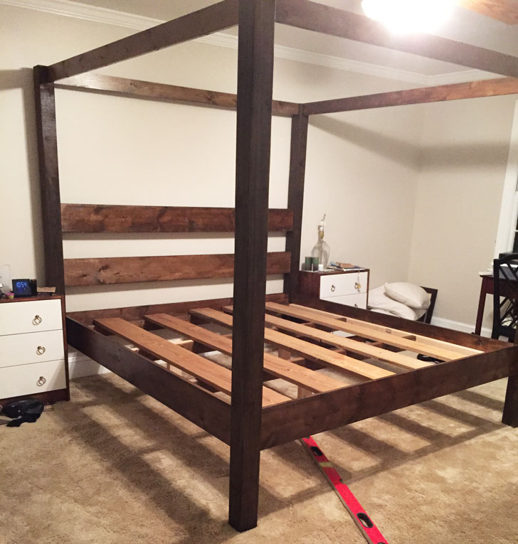 rustic modern canopy bed