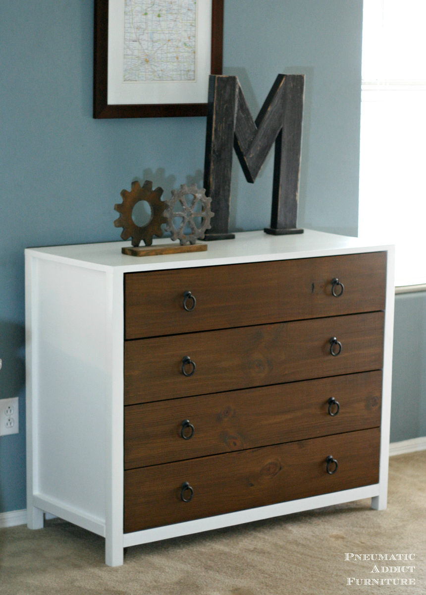 ana white modern white dresser with wood drawers diy 12649 | modern two tone dresser plans