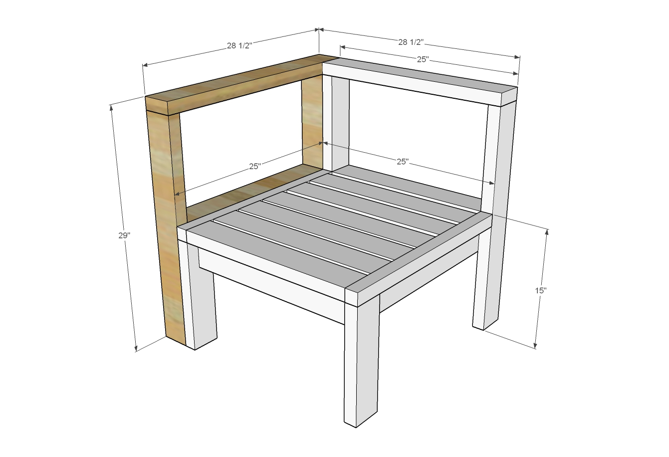 corner arm piece for outdoor sectional