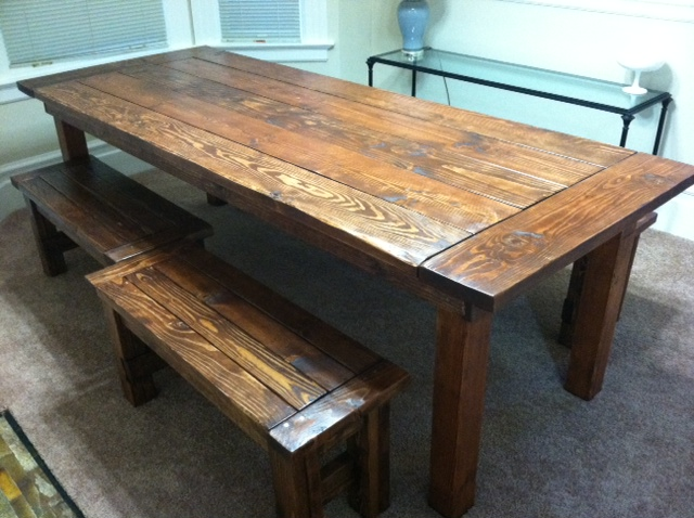 ana white farm house table and benches diy projects