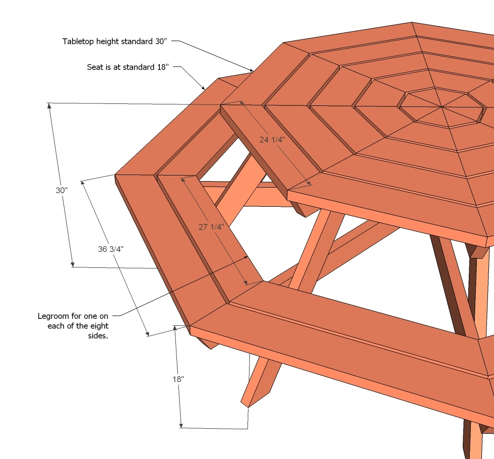 free octagon picnic table plans with umbrella hole | Woodworking DIY ...