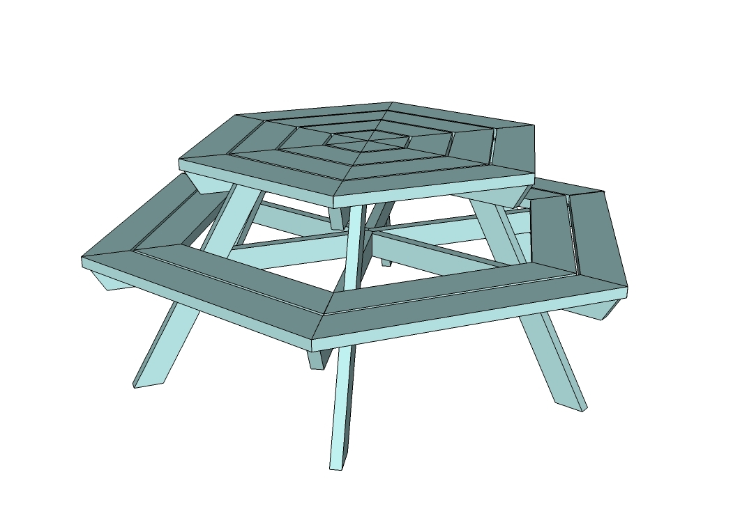 hexagon picnic table plans square patio tables picnic tables ...