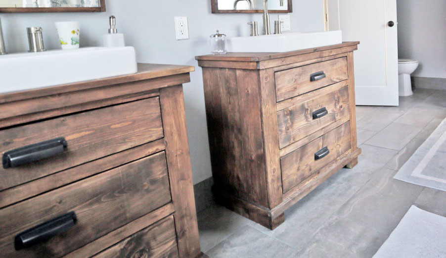 rustic modern bathroom vanities with three drawers and white farmhouse sinks