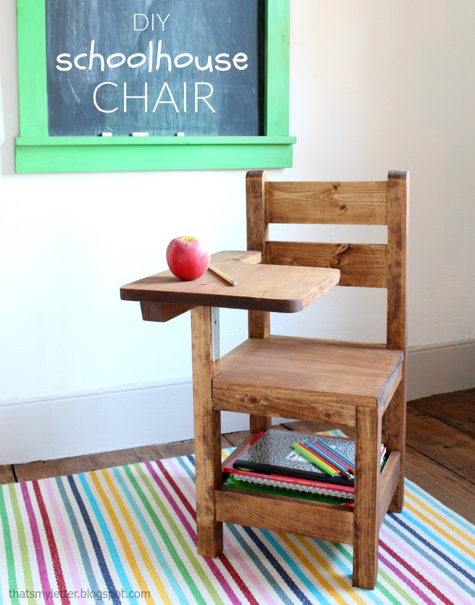 ana white schoolhouse chair with writing pad desk diy projects